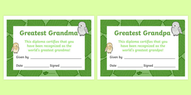 Grandparents Day Certificate