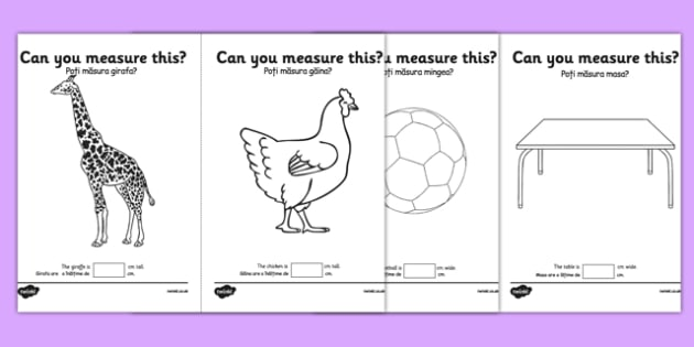 Measuring in cm Activity Sheets Romanian Translation - centimetre, centimetres, measure, measurement, ssm, length, ruler, romania, eal, maths, worksheet