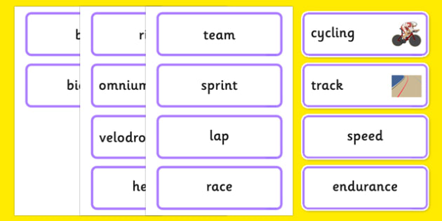 The Olympics Cycling Word Cards - Cycling, Olympics, Olympic Games, sports, Olympic, London, 2012, word card, flashcards, cards, activity, Olympic torch, events, flag, countries, medal, Olympic Rings, mascots, flame, compete