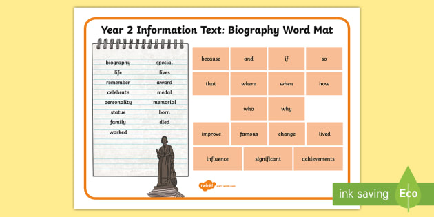 Year 2 Biography Word Mat - Example Texts Y2, information texts, biography, word mat