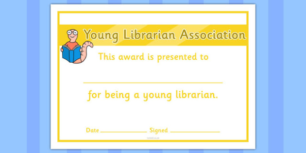 Young Librarians Association Certificate - young, librarians, association