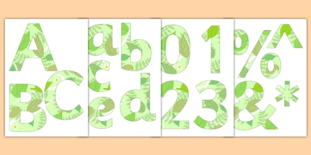 Paper-Saving Garden-Themed Display Alphabet Numbers Symbols