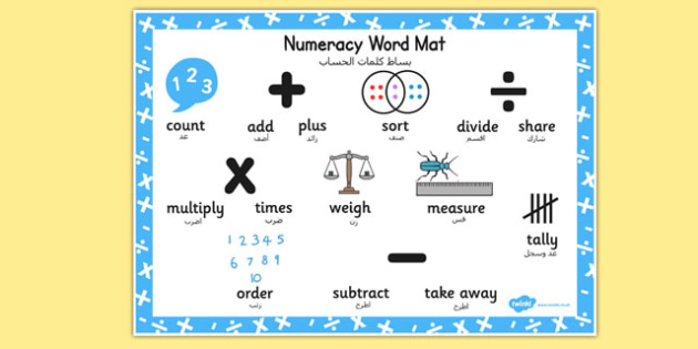 Numeracy Instructions Word Mat Eal Arabic Translation - maths