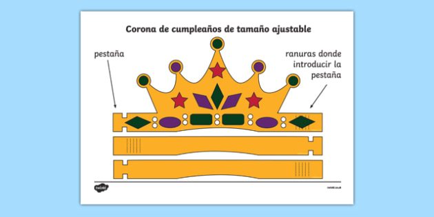Corona de cumpleaños de tamaño ajustable-Spanish
