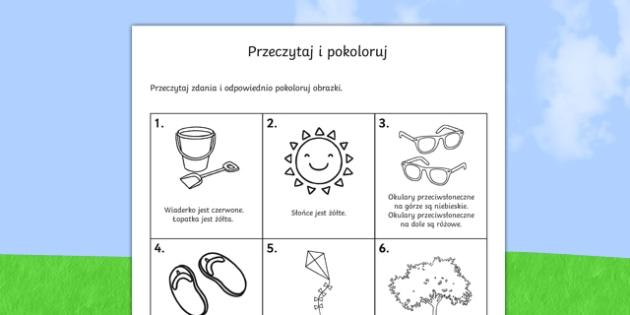 Przeczytaj i pokoloruj Lato po polsku, worksheet