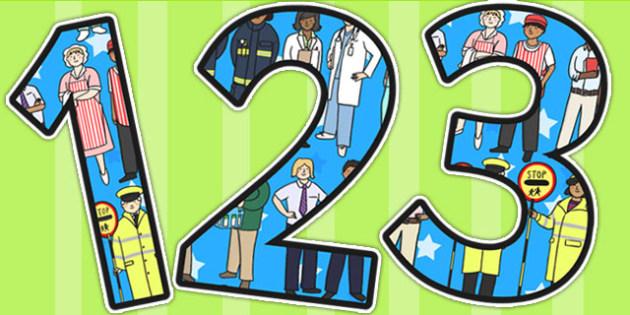 People Who Help Us Themed Display Numbers - numbers, display