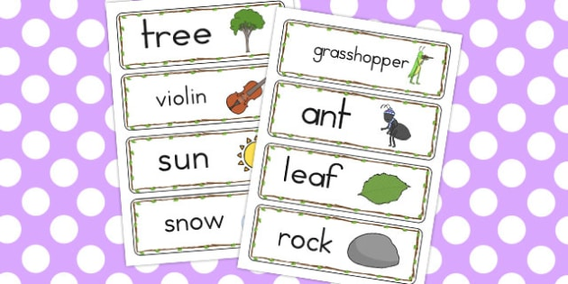 The Ant and the Grasshopper Word Cards - words, card, literacy
