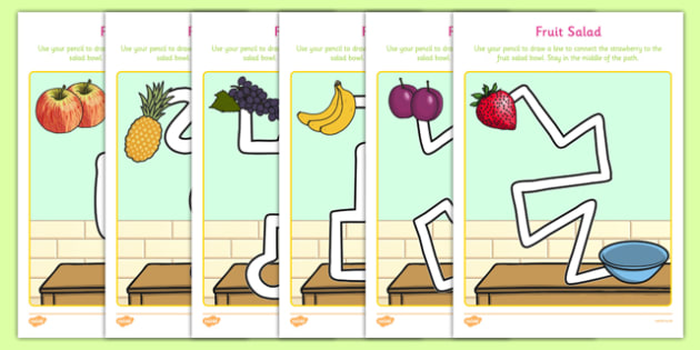 Fruit Salad Pencil Control Path Sheets - olivers fruit salad, fruit salad, pencil control path, pencil, control, path