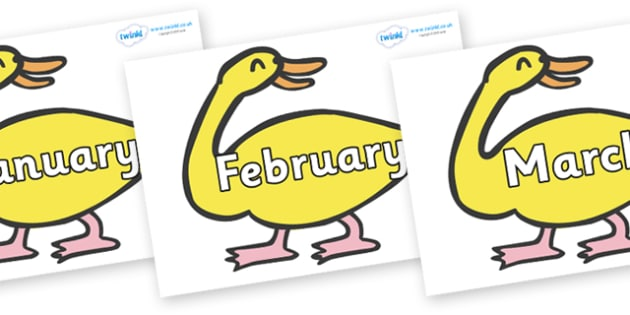 Months of the Year on Yellow Duck to Support Teaching on Brown Bear, Brown Bear - Months of the Year, Months poster, Months display, display, poster, frieze, Months, month, January, February, March, April, May, June, July, August, September