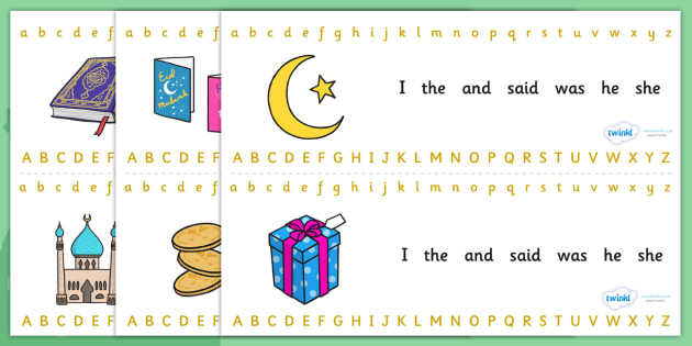 Eid Alphabet Strips-eid, alphabet, alphabet strips, eid themed alphabet, letters, islam, religion, RE, islam alphabet, islam themed, eid theme
