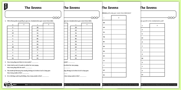 The Seven Times Table Activity Sheets - Y4 Multiplication and Division Planit Maths, multiply, groups of, lots of, product, times, sets of,