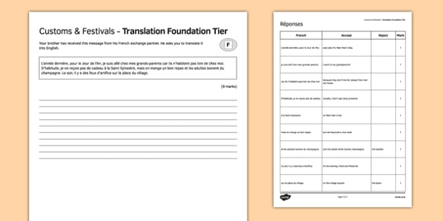 Coutumes & fêtes Traduction Foundation Tier - french, Customs, festivals, fêtes, coutumes, New Year's Eve, New Year's day, Jour de l'An Saint Sylvestre, translation, foundation, traduction