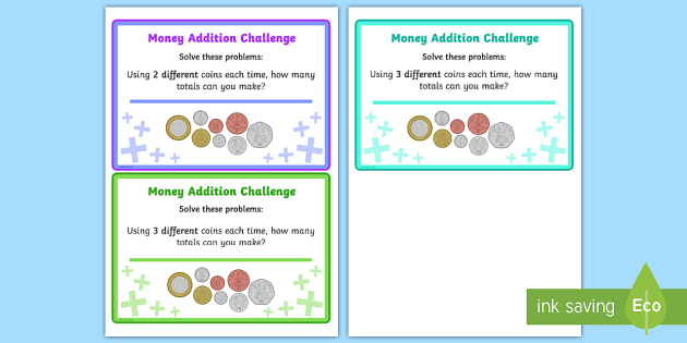 Adding Coins Maths Challenge Cards - add, coins, money, maths