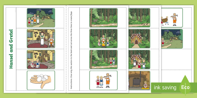 Hansel and Gretel Story Writing Flap Book - flap book, story
