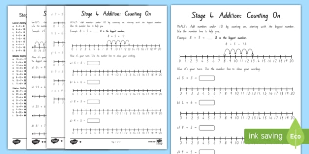 Addition Stage 4 Differentiated Activity Sheets