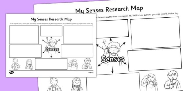 My Senses Research Map Template - senses, research, map, template