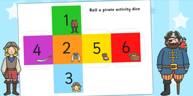 Roll a Pirate Activity - pirates, games, activities, dice games