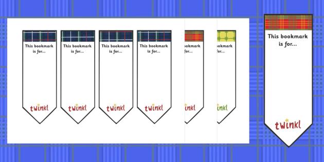 Tartan Bookmarks (Editable) - Tartan bookmarks, editable, bookmarks, St. Andrew's Day, Saint Andrew, patron, saint, Scotland, Bookmark, bookmark template, gift,  present, book, reward, achievement, Scottish, national day, cultures, countries, novembe