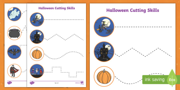 Halloween Themed Scissor Skills Activity Sheets