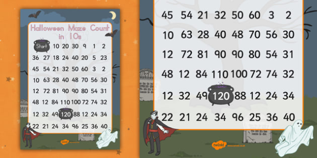 Halloween Counting in 10s Maze - maths, numbers, adding, pattern, early years, ks1