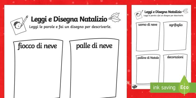 Leggi e disegna Natalizio - disegno, natalizio, esercizio, collegare, parola, immagine, regali, natalizio, italian, italiano
