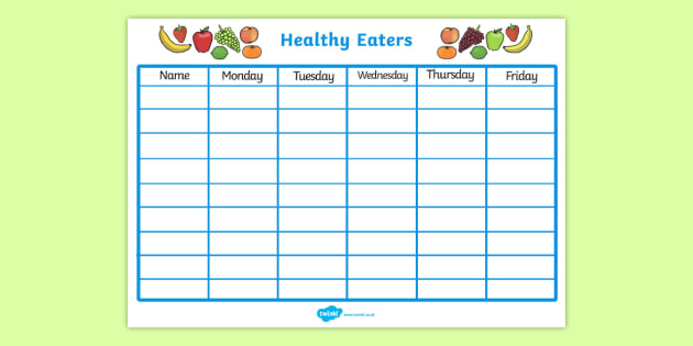 Healthy Eating Class Chart - health, healthy food, class chart