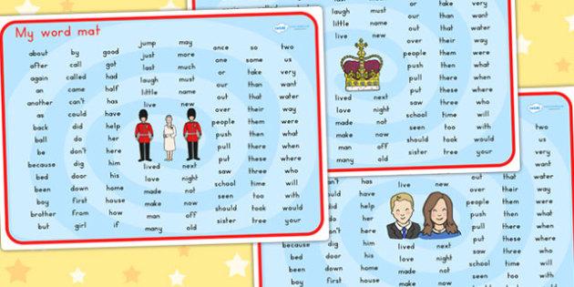Royal Family KS1 Word Mat - royality, queen elizabeth, visual aid