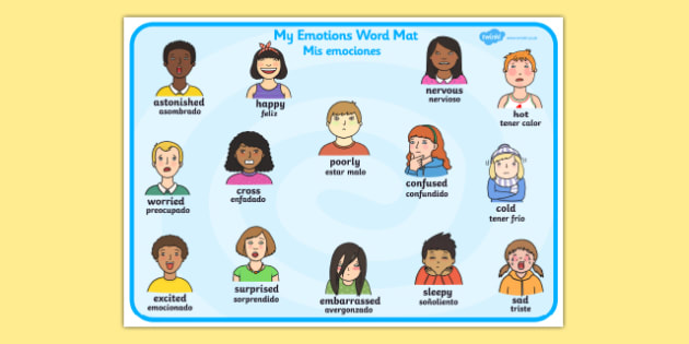 My Emotions Word Mat Spanish Translation - spanish, Word mat, writing aid, emotions, Feelings, All about me, ourselves, feelings display, feelings banner, emotions display, expression, happy, sad, angry, scared