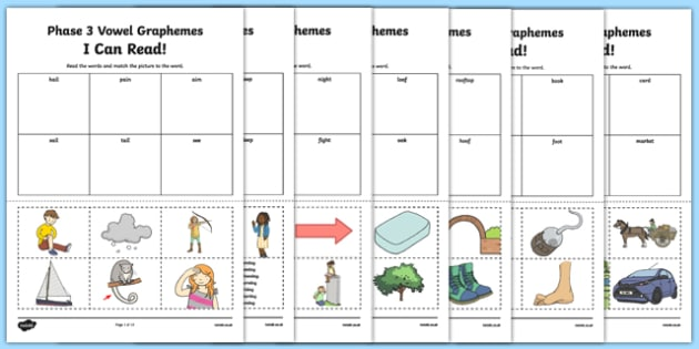 I Can Read Words Using Phase 3 Vowel Graphemes Words Activity, worksheet