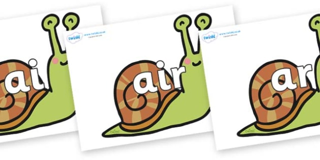 Phase 3 Phonemes on Snails - Phonemes, phoneme, Phase 3, Phase three, Foundation, Literacy, Letters and Sounds, DfES, display