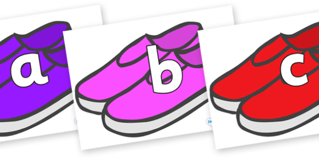 Phoneme Set on Shoes - Phoneme set, phonemes, phoneme, Letters and Sounds, DfES, display, Phase 1, Phase 2, Phase 3, Phase 5, Foundation, Literacy