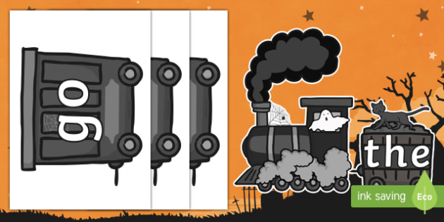 Halloween Ghost Train Phase 2 Tricky Words Display Cut-Outs