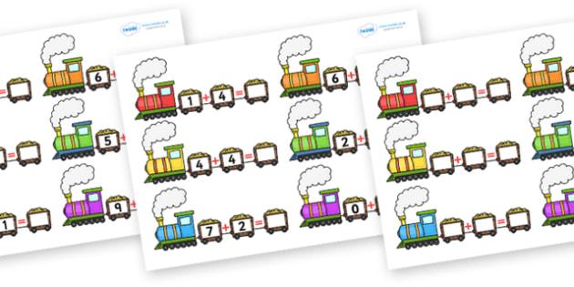 Train Addition Worksheets - worksheets, worksheet, work sheet, addition, train, transport, transport worksheets, train worksheets, sheets, activity, writing frame, filling in, writing activity