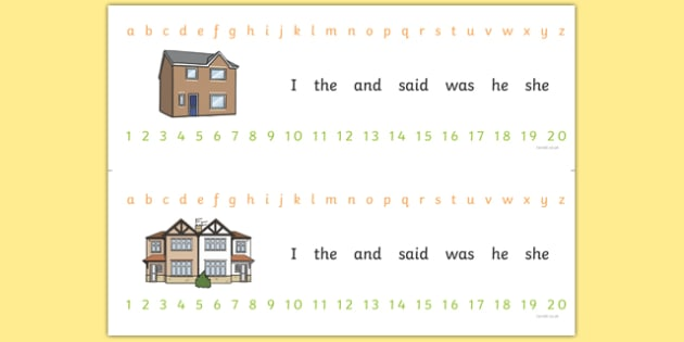 Combined Alphabet and Number Strips (Houses and Homes) - house, home, building, Alphabet, Numbers, Writing aid, brick, stone, detached, terraced, bathroom, kitchen, door, caravan, where we live, ourselves
