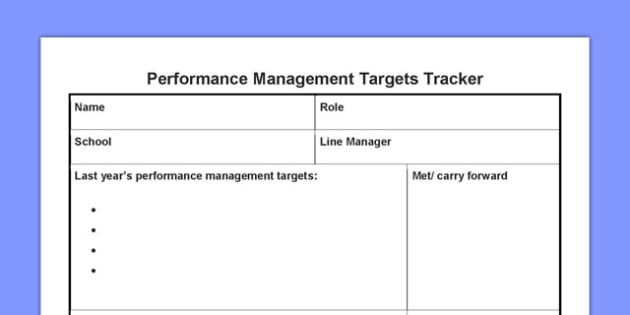 Performance Management Targets Tracker - performance, management, targets