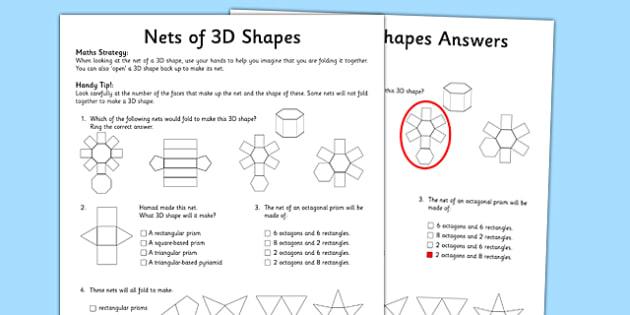 Year 5 3D Shape Nets Activity Sheet - worksheet, test skills, NAPLAN, equations, number sentences, problem solving, reasoning