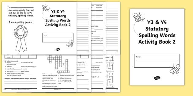 Statutory Spelling List Y3 and Y4 Activity Booklet 2 - english, suffix, prefix, spell, reading, writing, independent