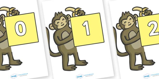 Numbers 0-50 on Monkeys - 0-50, foundation stage numeracy, Number recognition, Number flashcards, counting, number frieze, Display numbers, number posters