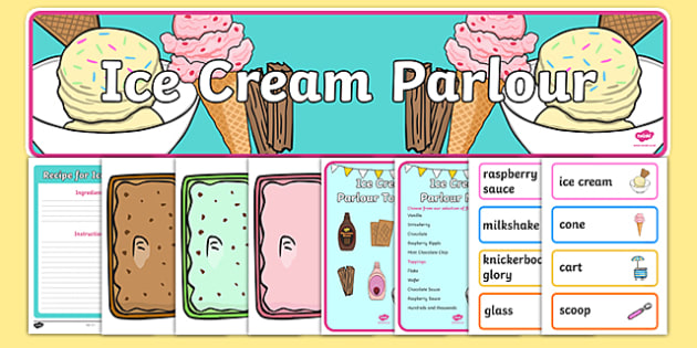 Ice Cream Parlour Role Play Pack - Ice cream, parlour, shop, seaside, souvenir, role play, sea,  price, prices, poster, display, ice cream shop, ice cream cafe, cone, flake, flavouring, cafe, stall, stand, banana, choc chip