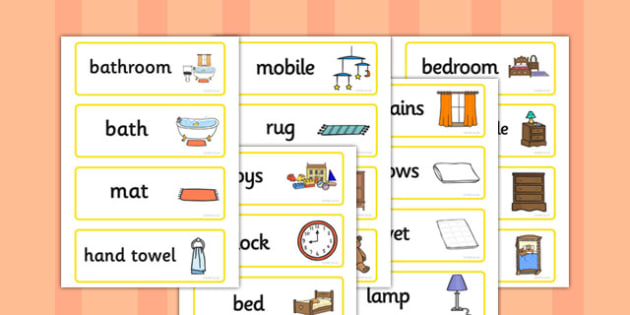 Home Word Cards - home, household, furniture, door, word card, flashcards, cards, lamp, chair, table, sofa, window, fridge, mirror, computer