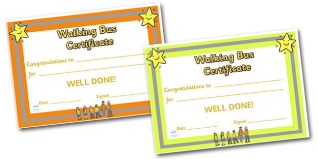 Editable Walking Bus Certificate - Walking bus, safety, safe walking, reward, award, certificate, medal, rewards, school reward, medal, good behaviour