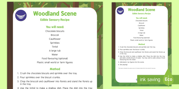 Woodland Scene Edible Sensory Recipe - Little Red Riding Hood, woods, woodland, food, baby, babies, gruffalo, bear hunt, trees, brocolli
