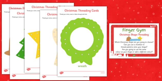 EYFS Christmas Shape Threading Finger Gym Resource Pack - fine motor skills, christmas, eyfs, shape, threading, finger gym, plan, pack