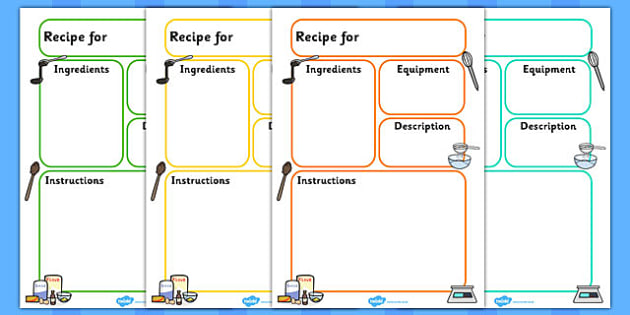 Recipe Template  Education Home School Free Child