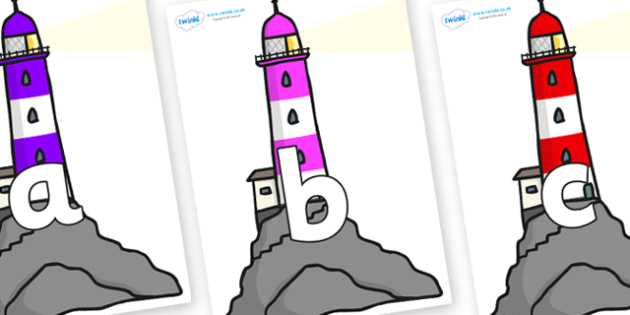 Phoneme Set on Lighthouses - Phoneme set, phonemes, phoneme, Letters and Sounds, DfES, display, Phase 1, Phase 2, Phase 3, Phase 5, Foundation, Literacy