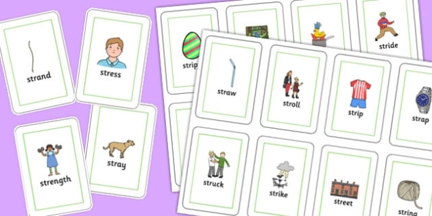 STR Playing Cards -speech sounds, phonology, articulation, speech therapy, cluster reduction, complex clusters, three element clusters