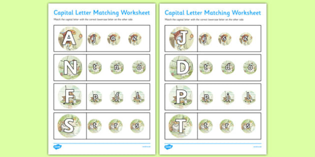 Beatrix Potter - The Tale of Mr Jeremy Fisher Themed Capital Letter Matching Worksheet - beatrix potter, jeremy fisher