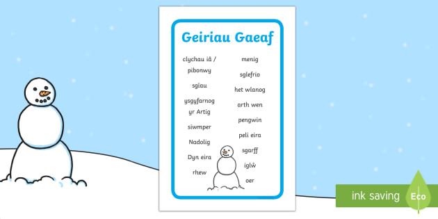Geiriau Allweddol Y Gaeaf Fframiau Ysgrifennu - Y Gaeaf (Winter), Gaeaf, Arddangosfeydd, Tymhorau, Cyfnod Sylfaen. Gaeaf, ysgrifennu, geiriau allwed