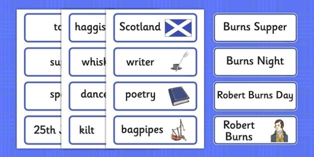 Burns Night Topic Word Cards - Robert Burns, January 25th, Burn's night, Robert Burns, word card, cards, flashcards,  poet, Scotland, scottish, burns supper, haggis, tartan