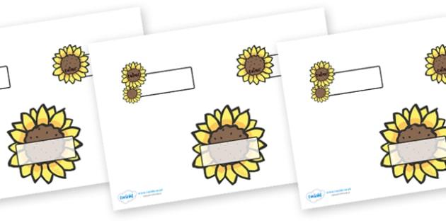 Editable Self Registration Labels (Sunflowers) - Self registration, register, sunflower, sunflowers, editable, labels, registration, child name label, printable labels